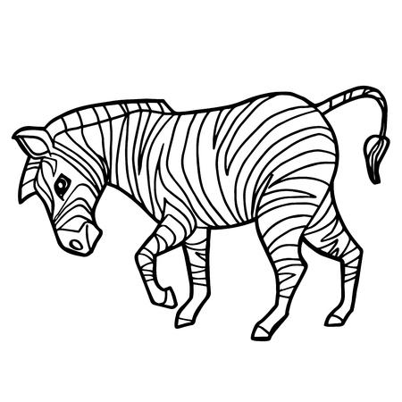 Cartoon Cute Zebra Coloring Page Vector Illustration Royalty Free ...