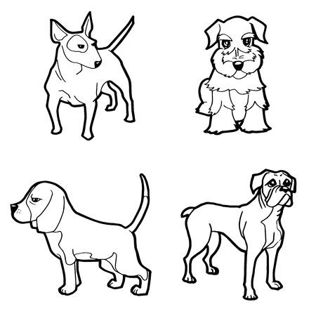 Perro Con Hueso En La Boca En Casa Dibujos Animados Para Colorear ...