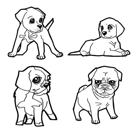 set of cartoon cute dog coloring page vector illustration Illustration