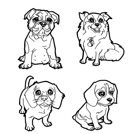 loveable: set of cartoon cute dog coloring page vector illustration Illustration