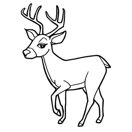 Dibujos Animados Lindo Venado Colorear Página Ilustración Vectorial