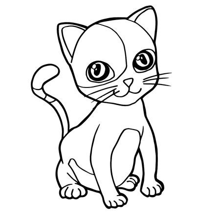 mjau: cartoon cute cat coloring page vector illustration