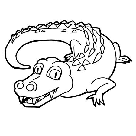 A Cartoon Cute Crocodile Coloring Page Vector Illustration. Royalty ...