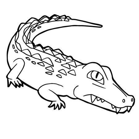 cartoon cute crocodile coloring page vector illustration