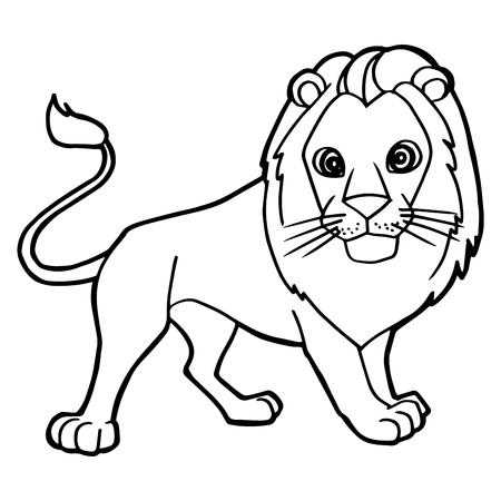 Ilustración De Vector De Dibujos Animados Lindo León Para Colorear ...
