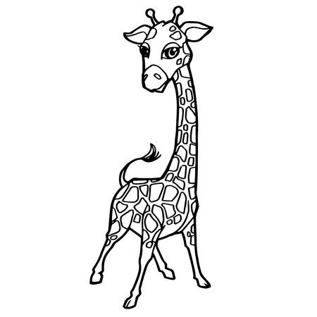 Una Ilustración Linda De Dibujos Animados Jirafa Para Colorear ...