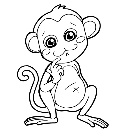 cartoon cute monkey coloring page vector illustration Illustration