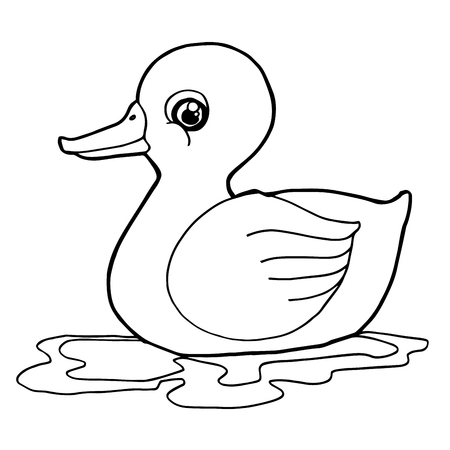 Cartoon schattige eend kleurplaat pagina vector illustratie Vector Illustratie