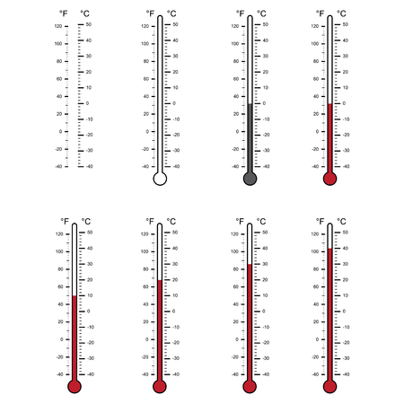 blank of thermometers and different levels isolated on white background
