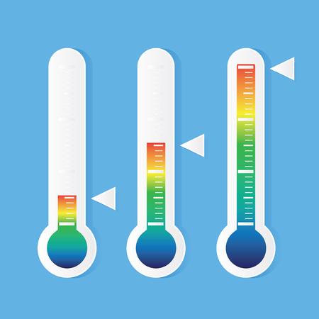 青色の背景のベクトル図に温度計のアイコン  イラスト・ベクター素材