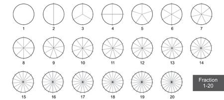 Arte de clip de la empanada de la fracción para la educación en la ilustración del vector del fondo blanco