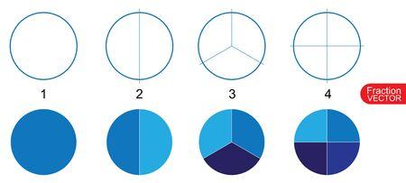 Clip art de Fraction Pie para la educación en vector de fondo blanco Ilustración de vector