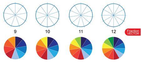 Fraction Pie clip art  for education on white background vector