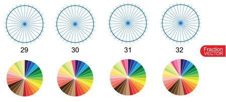 Fracción para la educación en el vector de fondo blanco Ilustración de vector