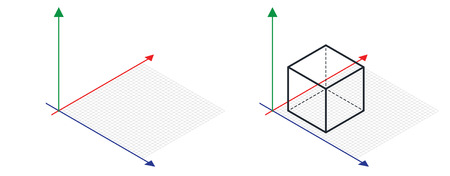 Isometric drawing a thirty degreesangle is applied to its sides. The cube opposite. 3d coordinate axis vector . Grid Paper Isometric dots vector