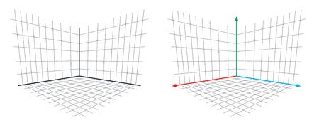 OpenGL Projection Matrix perspective illustration vectorielle de l'axe 3D