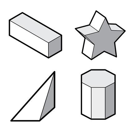 basic figure: Set of Basic 3d geometric shapes illustration  isolated on  white.