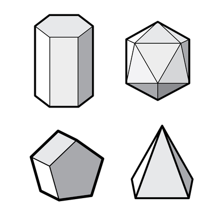 solids: set of Basic 3d geometric shapes. Geometric solids vector  illustration  isolated on a white background. Illustration