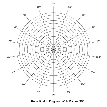 Polar Grid In Degrees vector