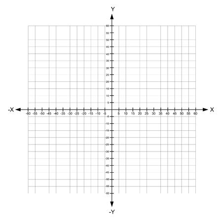 blank x and y axis Cartesian coordinate plane with numbers on white background vector illustration