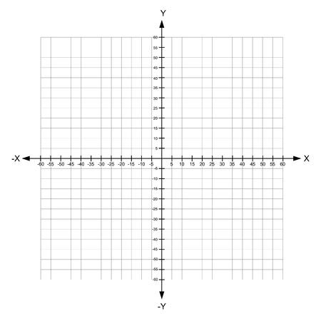 plan de coordonnées cartésiennes axe x et y blanc avec des nombres sur illustration vectorielle fond blanc Vecteurs