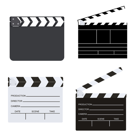 set of blank director clapboard or movie clapboard isolated on background vector illustration