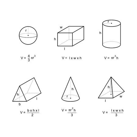 Fórmulas de área y volumen de geometría en la ilustración de vector de fondo blanco