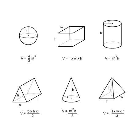 geometry area and volume formulas on white background vector illustration