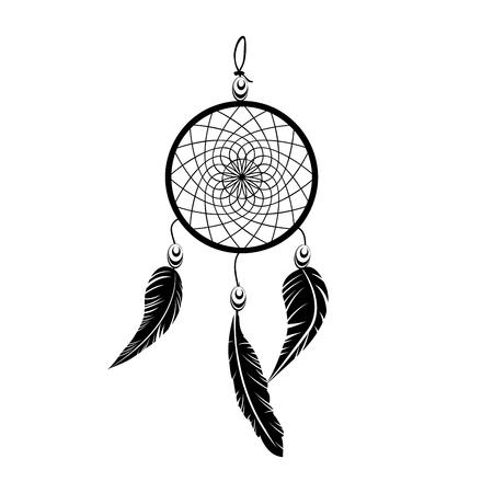 Tatuaje de atrapasueños de vector de atrapasueños negro indio en ilustración de fondo blanco