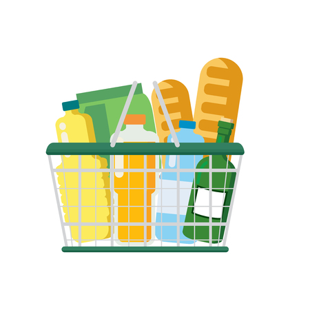 Supermarket basket  on white background vector illustration