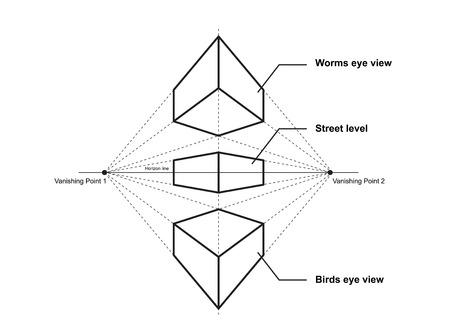 dibujo en perspectiva aislado en la ilustración de vector de fondo blanco Ilustración de vector