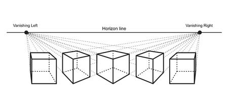 perspectieftekening die op witte vectorillustratie wordt geïsoleerd als achtergrond Vector Illustratie