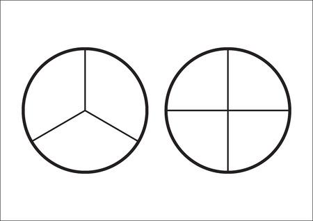 Pastel de fracciones dividido en rodajas. Fracciones para el cartel de la portada de la presentación del sitio web Icono de contorno plano vectorial aislado sobre fondo blanco.