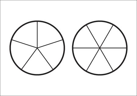Pastel de fracciones dividido en rodajas. Fracciones para el cartel de la portada de la presentación del sitio web Icono de contorno plano vectorial aislado sobre fondo blanco. Ilustración de vector