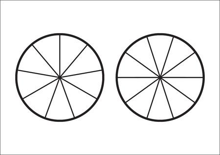 Tarte fractionnée divisée en tranches. Fractions pour l'affiche de couverture de présentation de site Web Icône de contour plat de vecteur d'isolement sur le fond blanc. illustrationÂ