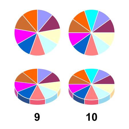 Pastel de fracciones 2D 3D. Fracciones para el icono de contorno plano del cartel de la portada de la presentación del sitio web aislado sobre fondo blanco. Ilustración de vector