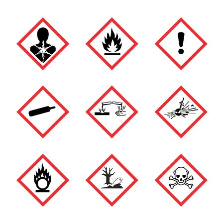 El sistema mundialmente armonizado de clasificación y etiquetado de productos químicos vector sobre fondo blanco.