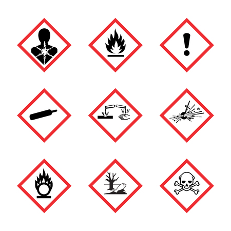 The Globally Harmonized System of Classification and Labeling of Chemicals vector on white background Vettoriali