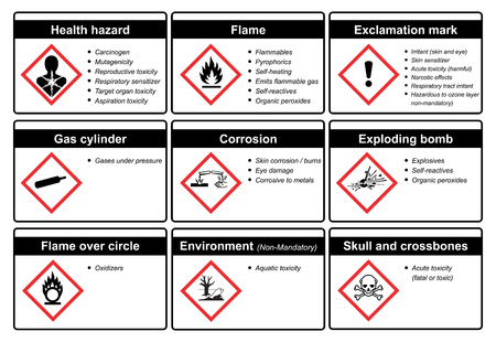 The Globally Harmonized System of Classification and Labeling of Chemicals vector on white background Иллюстрация