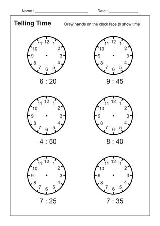Contar la hora Contar la hora Práctica para niños Hojas de trabajo de tiempo para aprender a decir la hora Juego de hojas de trabajo de tiempo vector