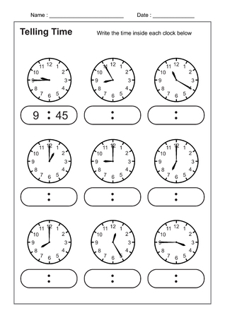 Telling Time Telling the Time Practice for Children Time Worksheets for Learning to Tell Time game Time Worksheets vector