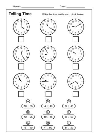 Contar la hora Contar la hora Práctica para niños Hojas de trabajo de tiempo para aprender a decir la hora Juego de hojas de trabajo de tiempo vector Ilustración de vector