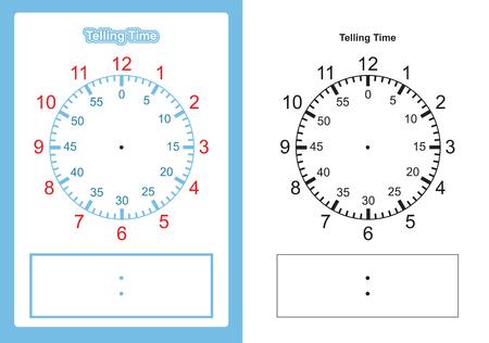 Tabla de tiempo de enseñanza que indica la hora para la tabla del maestro para enseñar la esfera del reloj o la esfera del reloj en blanco Ilustración de vector