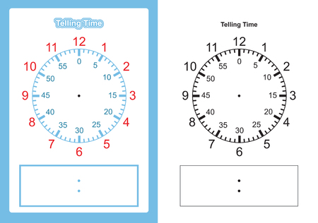 Tableau de temps d'enseignement indiquant l'heure du tableau de l'enseignant pour l'enseignement du visage de l'horloge ou du vecteur de visage d'horloge vierge Vecteurs