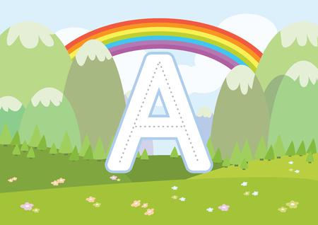Kindergarten Tracing Letters Worksheets en la ilustración de vector de fondo de dibujos animados
