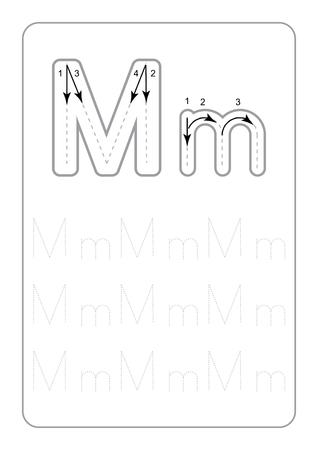 Kindergarten Tracing Letters Worksheets Hojas de trabajo de letras de rastreo monocromáticas en la ilustración de vector de fondo blanco