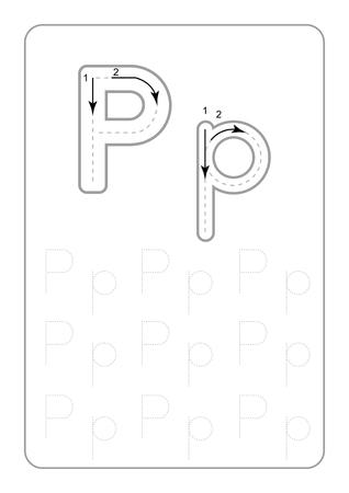 Kindergarten Tracing Letters Worksheets  monochrome Tracing Letters Worksheets  on white background vector illustration  イラスト・ベクター素材