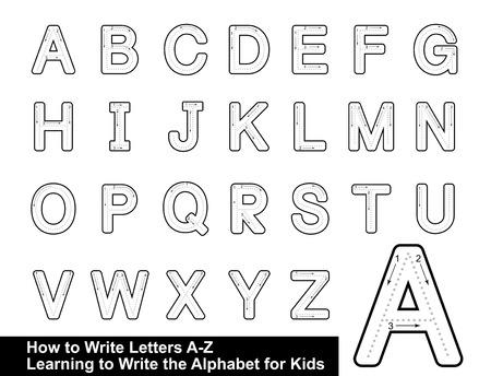 ALPHABET TRACING LETTERS  STEP BY STEP LETTER TRACING Write the letter Alphabet Writing lesson for children vector illustration