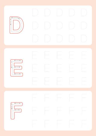 Kindergarten Tracing Letters Worksheets  Alphabet trace worksheet  vector illustration