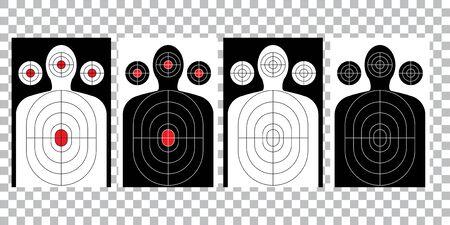 Blanco, blanco y flecha, tiro de papel blanco de tiro de pistola, vector